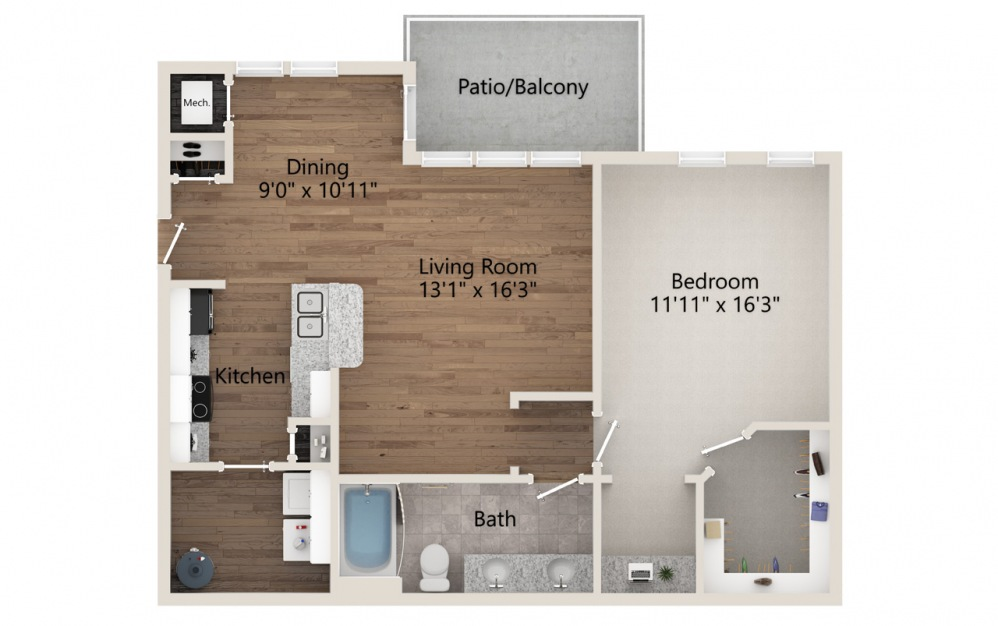 A2 - 1 bedroom floorplan layout with 1 bath and 865 square feet.