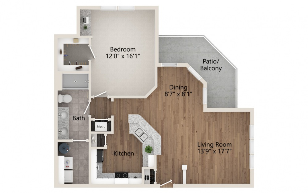 A3 - 1 bedroom floorplan layout with 1 bath and 937 square feet.