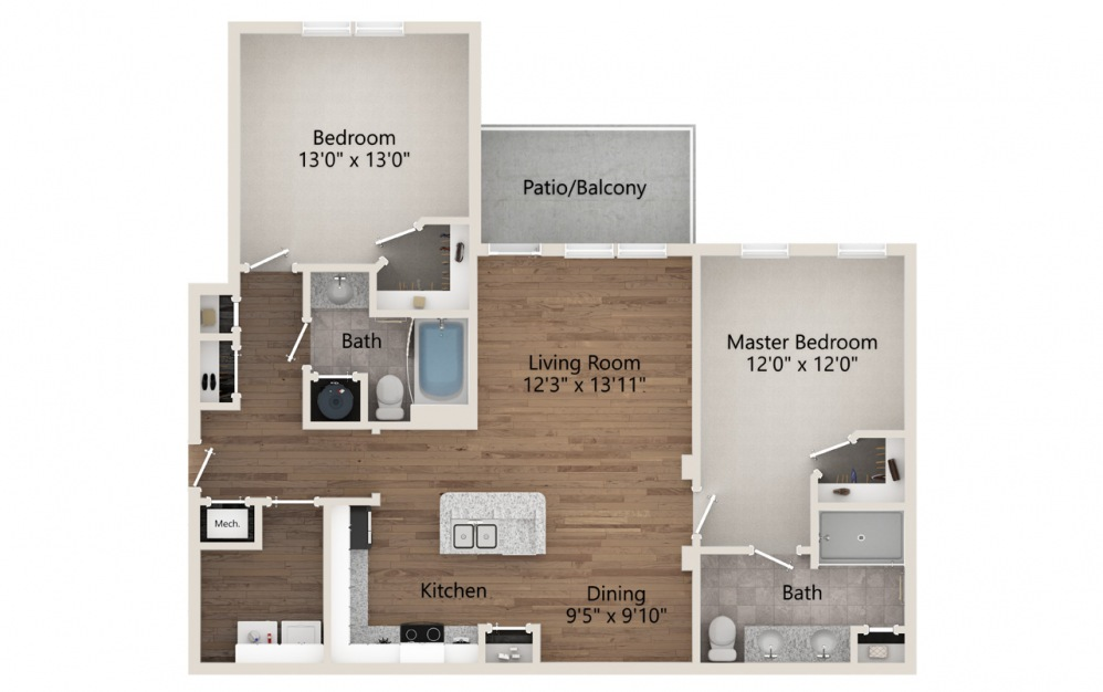 B1 - 2 bedroom floorplan layout with 2 baths and 1178 square feet.