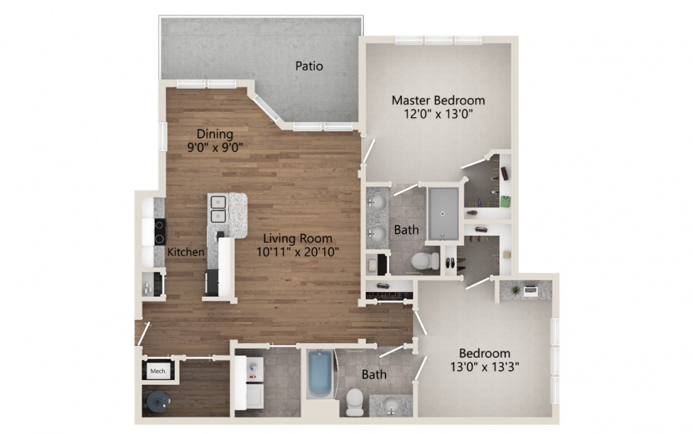 B2 - 2 bedroom floorplan layout with 2 baths and 1238 square feet.