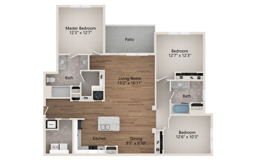 C1 - 3 bedroom floorplan layout with 2 baths and 1420 square feet.