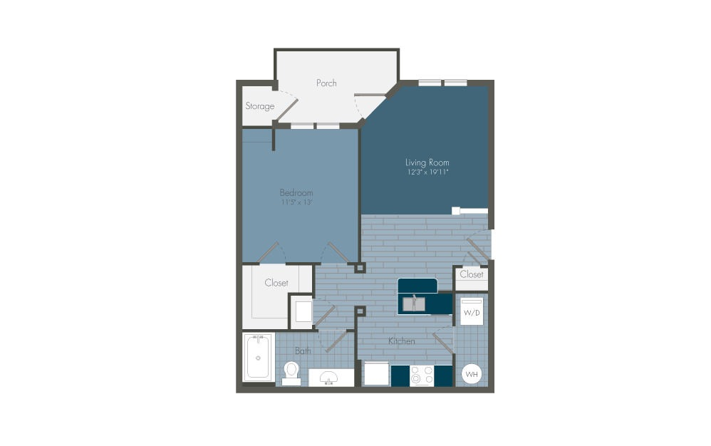 A1 - 1 bedroom floorplan layout with 1 bath and 687 square feet.